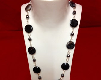Sterling silver, hematite & agate necklace
