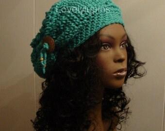 slouchy beanie cap, slouch crochet hat with coconut button, Women's  slouchy hat, chapeau femme, jade color.