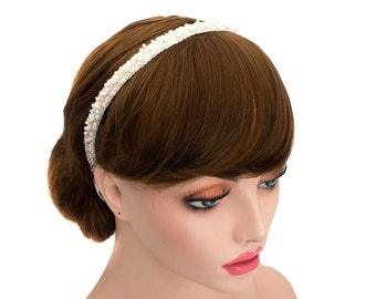 Women Bright Beads Headband,Wedding Ribbon Hair band,Bridal Hair,Ribbon Tie Hair-WH10R67