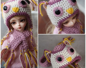 bjd owl hat and scarf for pukifee, yosd, msd, sd