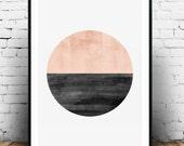 Minimalist print, Abstract watercolor art, Geometric art, Circle print, Nordic style, Pink color print, Home art, Modern art, Minimal art