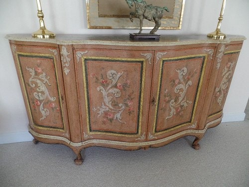 Painted Foyer Cabinets : Italian hand painted sideboard serpentine front great