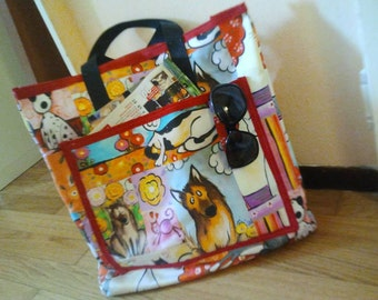 Shopper bag with zipper in four variants of tissue.Exclusive design.