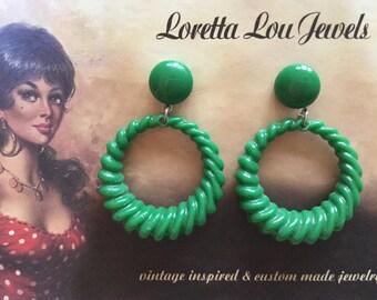 Vintage inspired green earrings in the 40s 50s style, bakelite-style hoops