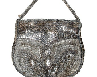 Vintage Silver Sequin Evening  Bag (VERY OLD & RARE)