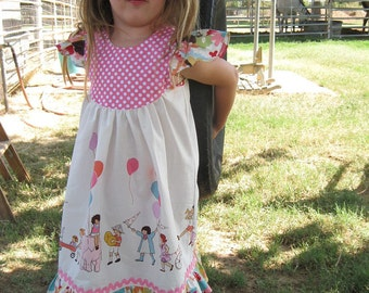 Girls Twirl Dress withFlutter or Butterfly Sleeves Michael Miller On Parade Fabric