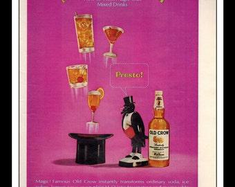 "Vintage Print Ad March 1966 : Old Crow Bourbon Whiskey ""Abra-Crow-Dabra"" Wall Art Decor 8.5"" x 11"" Advertisement"