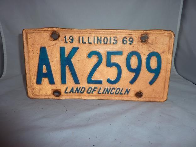 Vintage 1969 Illinois License Plate