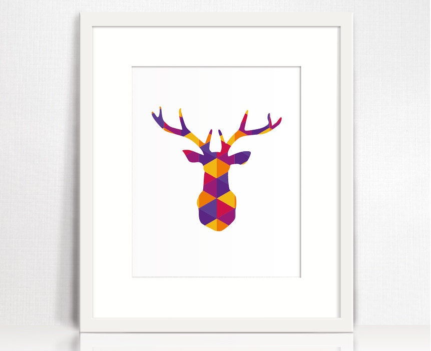 Deer head print. Geometric deer head decor. Colorful animal