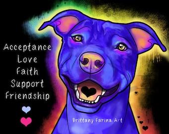 Pitbull Art Print, Dog Art, Dog Print