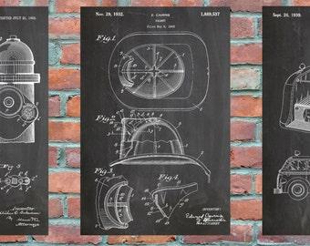 Fireman Prints Group of 3 Patent Wall Art Print, Patent Art, Blueprint, Patent Print, Patent Poster, Plexity Prints #024