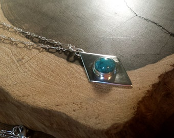 Handmade, Sterling Silver, Turquoise, Necklace, Sterling Chain, Diamond Design