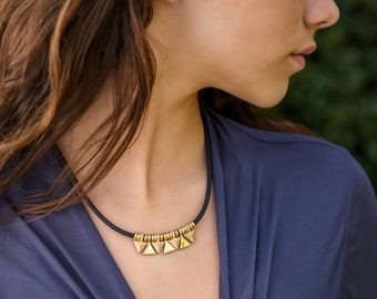 Free Shipping-Triangle Necklace-under 50 dollars-Christmas gift ideay-Rubber Necklace-Gold Plated, Rhodium Plated-Handmade by Jennifer Love