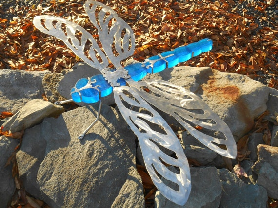 Large Dragonfly Garden Sculpture Stained Glass And Stainless