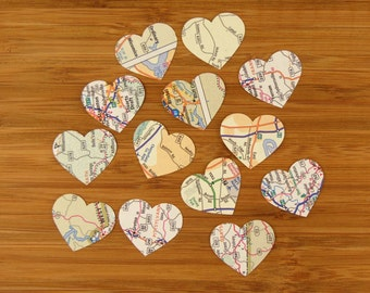 Map Heart Confetti, 100 Pieces, 1-inch, Travel Theme Decoration