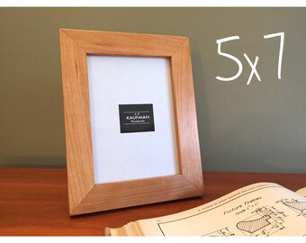 5x7 wooden picture frame cherry wood with walnut splines handmade glass single perfect wedding gift
