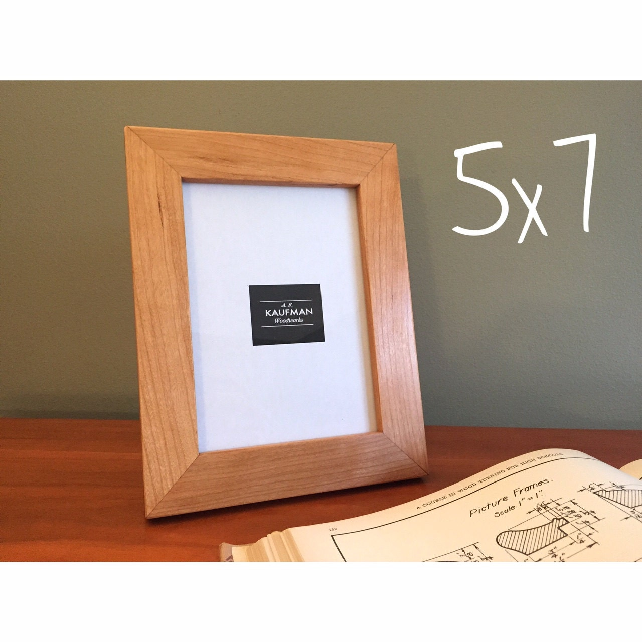 5x7 wooden picture frame cherry wood with walnut splines. Black Bedroom Furniture Sets. Home Design Ideas