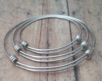 Stainless Steel Adjustable Bangle Bracelet - 50mm - Child- Expandable Stainless Steel Wire Bangle Bracelet-Charm Bracelet