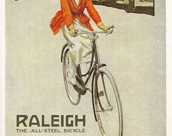 AD33 Vintage 1920's Raleigh Bicycles Bike Advertising Advertisment Poster Re-Print Wall Decor A3/A4