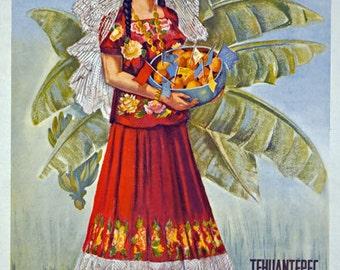 TX17 Vintage MEXICO Tehuantepec Oaxaca Mexican Travel Tourism Poster Re-Print Wall Decor A1/A2/A3/A4