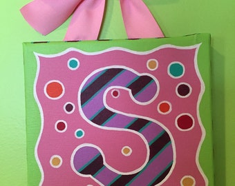 Hand painted personalized letter or initial painting on canvas - pink, purple and green with dots and stripes