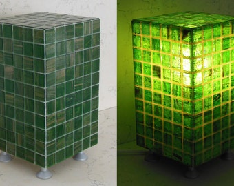 Lamp design made in Italy covered with mosaic in Vetro_colore emerald green paste