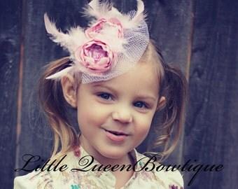 Flower Girl Fascinator- Flower Fascinator Clip- Flower Girl Pink Flower Clip- Flower Headband Bridal Pink Flower Headband. Photo Prop