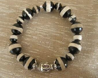 Stripe Agate Tibet Style Bracelet