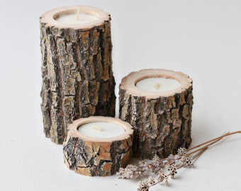 Set of 3 reclaimed Willow Candle Holders, Wood Tea Light Holders, Rustic Wedding Decor, Rustic Wood Wedding Centerpiece, House Warming Gift