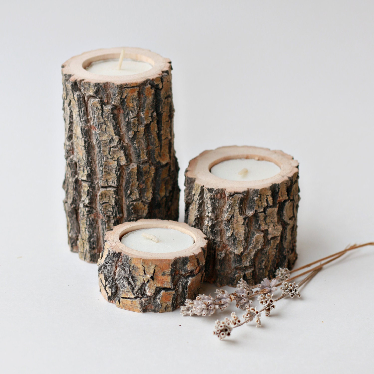Set Of 3 Reclaimed Willow Candle Holders Wood Tea Light