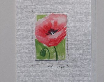 poppy painting, original watercolor painting mounted on a notecard.