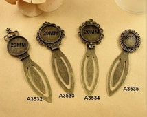 10PCS Blank Bookmark With Bezel Cabochon Settings, Antique Bronzed Tone, 4 Style As Your Choice