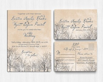 DIGITAL, Winter Wedding Invitation, Printable Wedding invitation, Winter wedding invite, Snow wedding invitation, winter party, beige, white