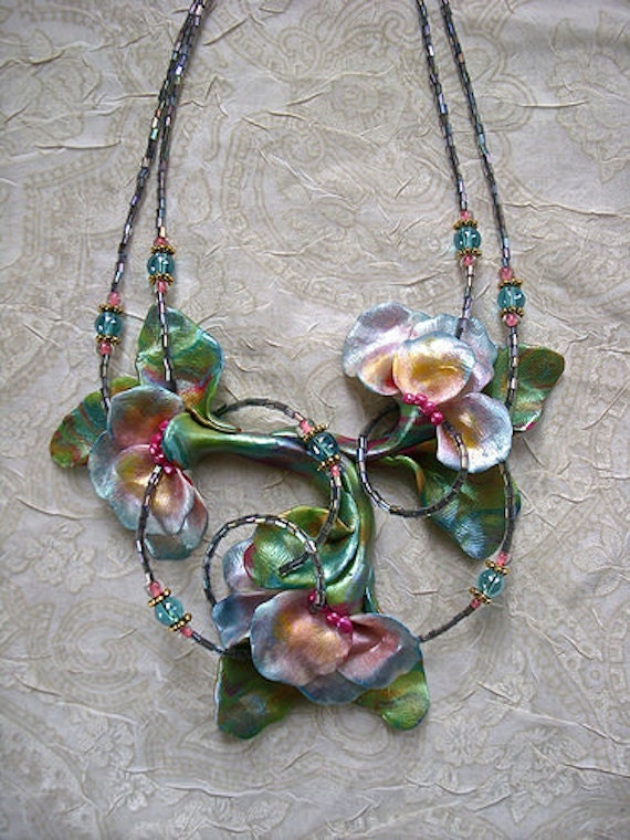 Unique Handmade Polymer Clay Statement Floral Necklace~Swirling Flowers~very lightweight
