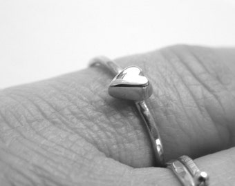 Cute chunky heart sterling silver ring.
