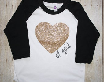 Heart of gold raglan tee