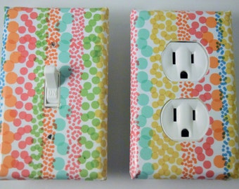 whimsy, dotted,polka dots,, kids, switch plate, light switch cover,light, housewares, home decor,light switchplate cover