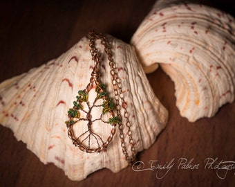 Tree of Life Wire Wrapped Copper Green Beaded Pendant Necklace