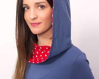 Hoodie blue with red polka dot