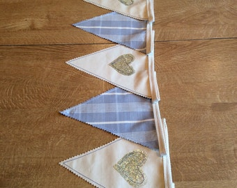 Blue and gold heart bunting- 5m
