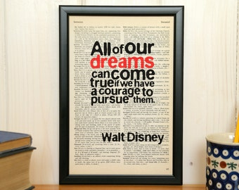 All of our dreams can come true -  inspirational quote, framed print, motivational quote, framed quote, wall decor, Walt Disney quote