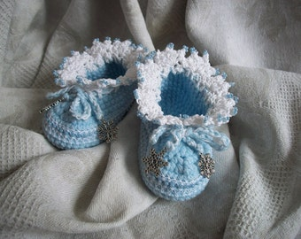 """Knitted booties """" Snowflakes """""""
