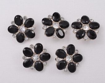 5 pc Buttones -  Black Rhinestone Buttons Black Button Craft Supplies