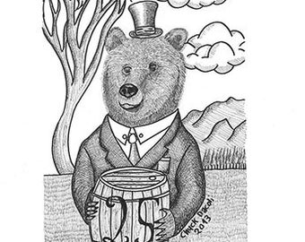 Dandy Orso - Dandy Bear - Black And White LIMITED EDITION PRINT