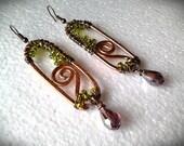Wire earrings/Wire cooper earrings/Copper earrings beads/Copper earrings/Green beads earrings