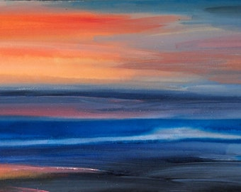 Orginal Abstract Landscape Painting: Sunset 01
