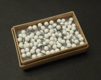 Map Push Pins White Round Heads Pack of 100