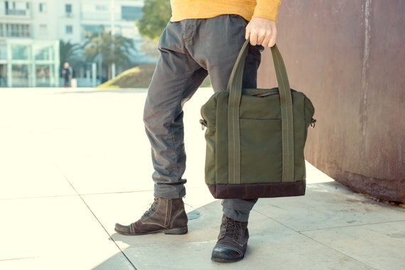 Dark green canvas tote bag men's everyday bag suited