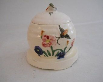 Ceramic Honey Pot White Bee Skep Painted And Flower Design
