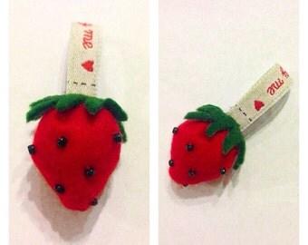 Handmade Felt Strawberry Keyring!